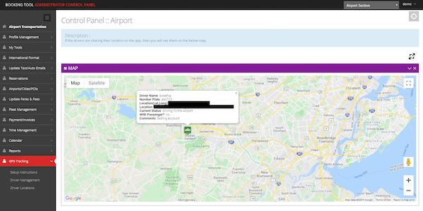 The Booking Tool maps screenshot