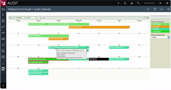 MasterControl Manufacturing Excellence audit calendar