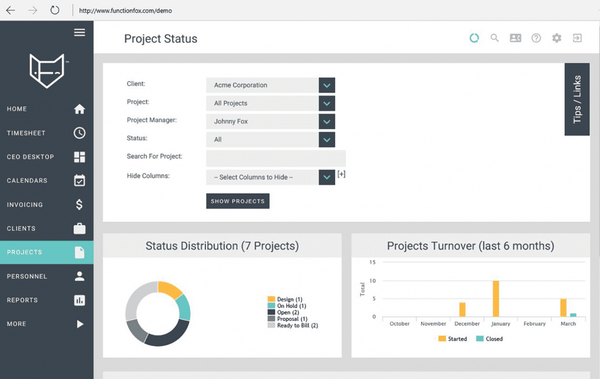 Project status page