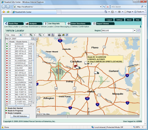 Roadnet Transportation Suite - Vehicle Location - Real TIme