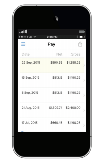 Mobile paystubs