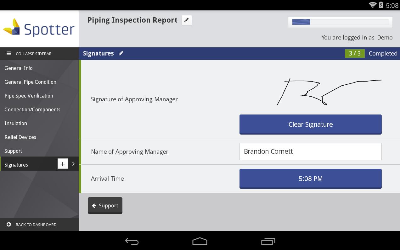 Digital signature reporting