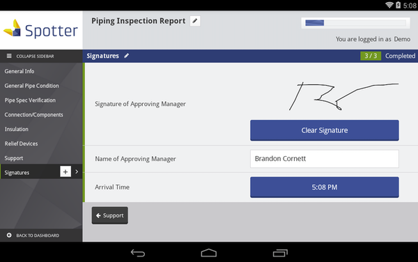 Digital signature reporting