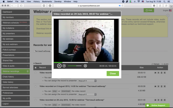 Recording webinar video