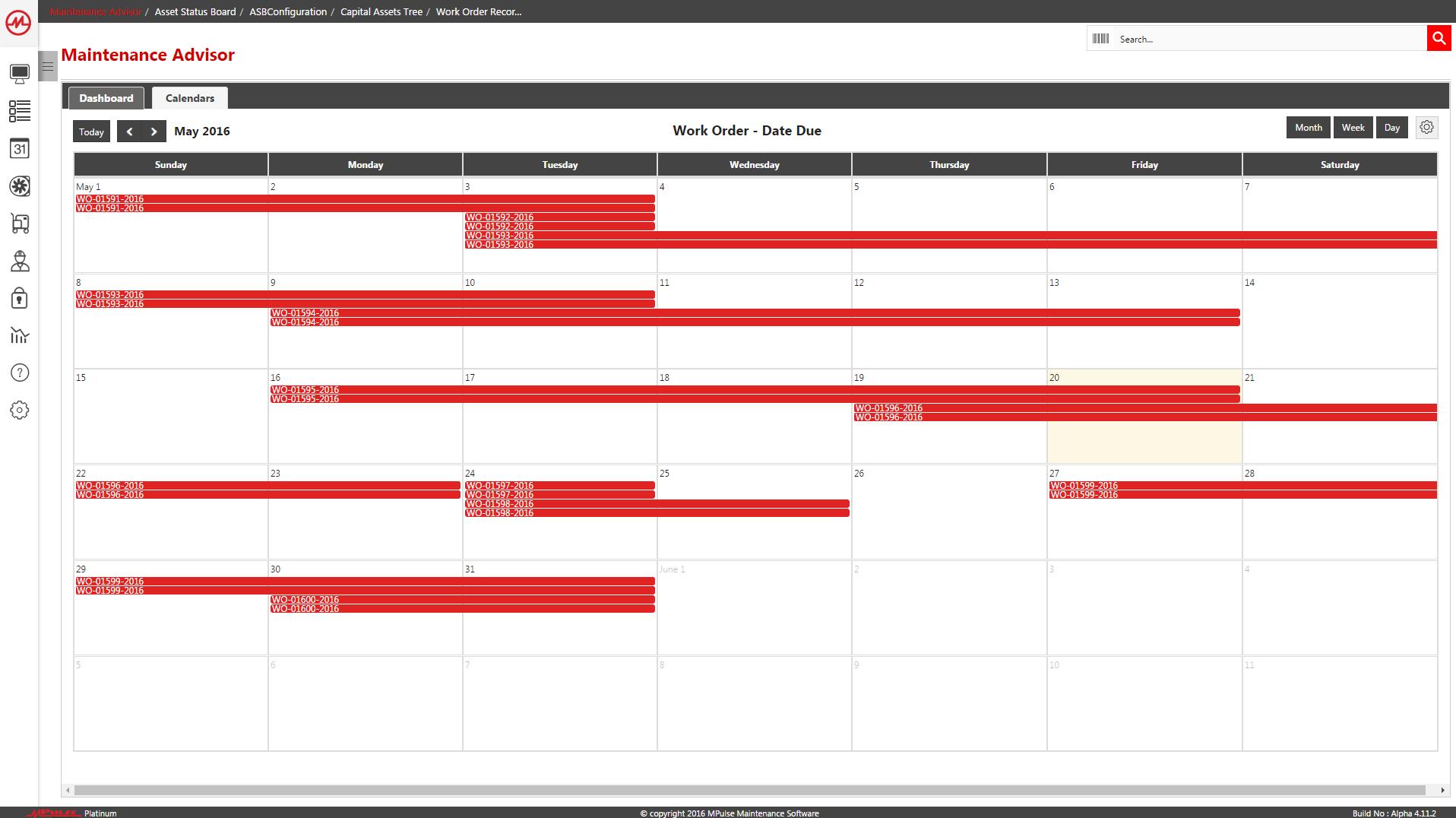 Work Order Calendar