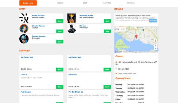 Business profile page