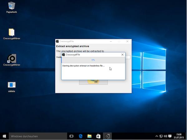 Decryption in Windows 10
