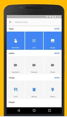 Google Keep - Organize data