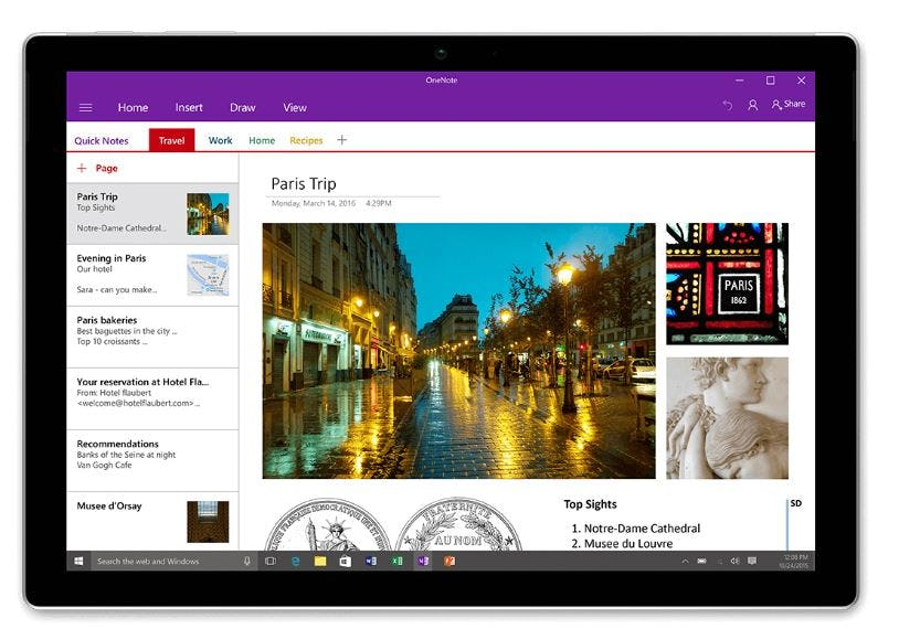 OneNote - Various note types
