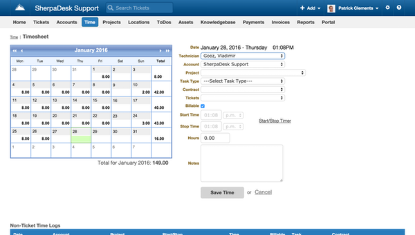 Time tracking page