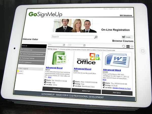 GoSignMeUp registration home page screenshot