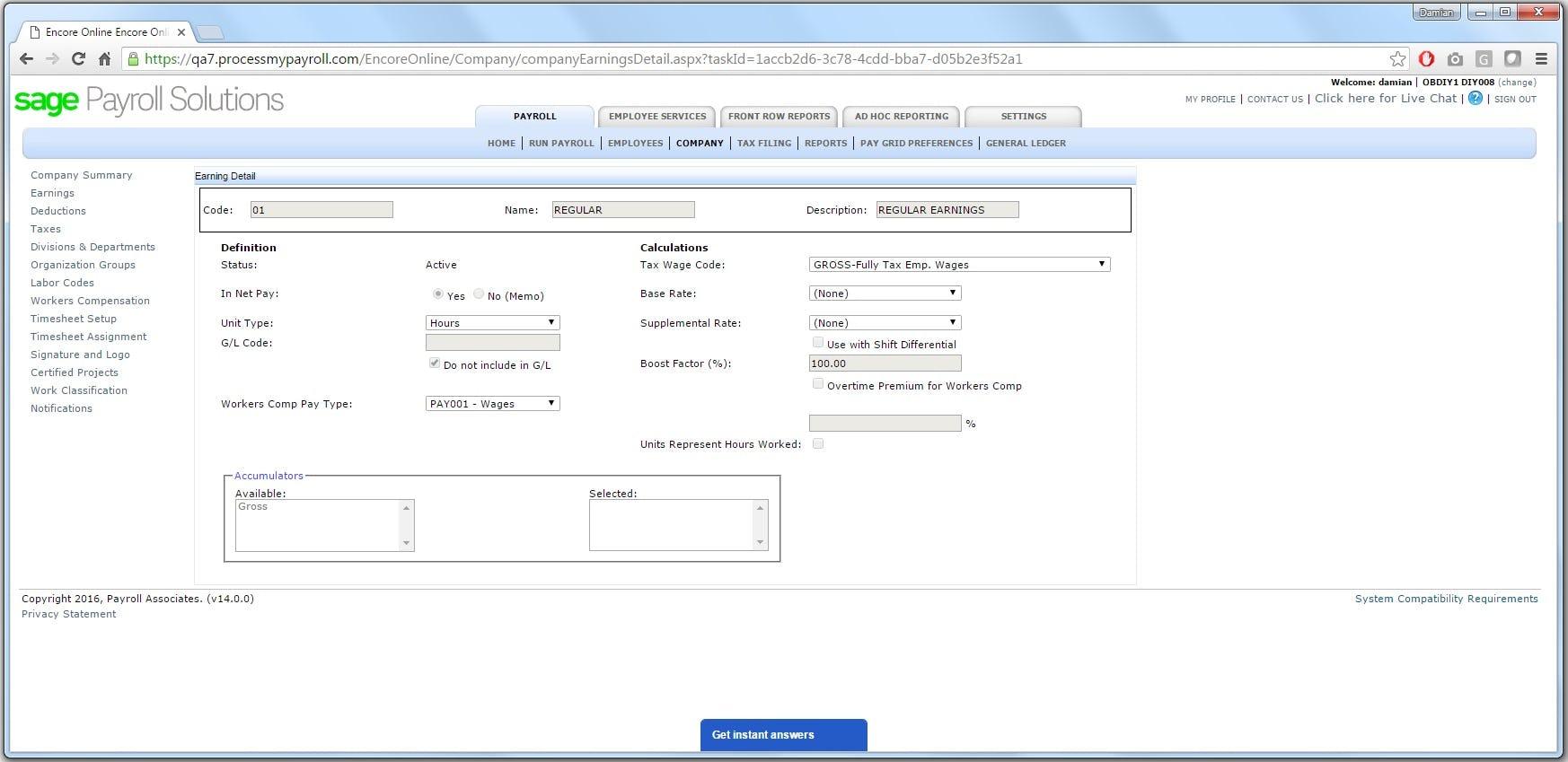 Sage Payroll - Earning Details