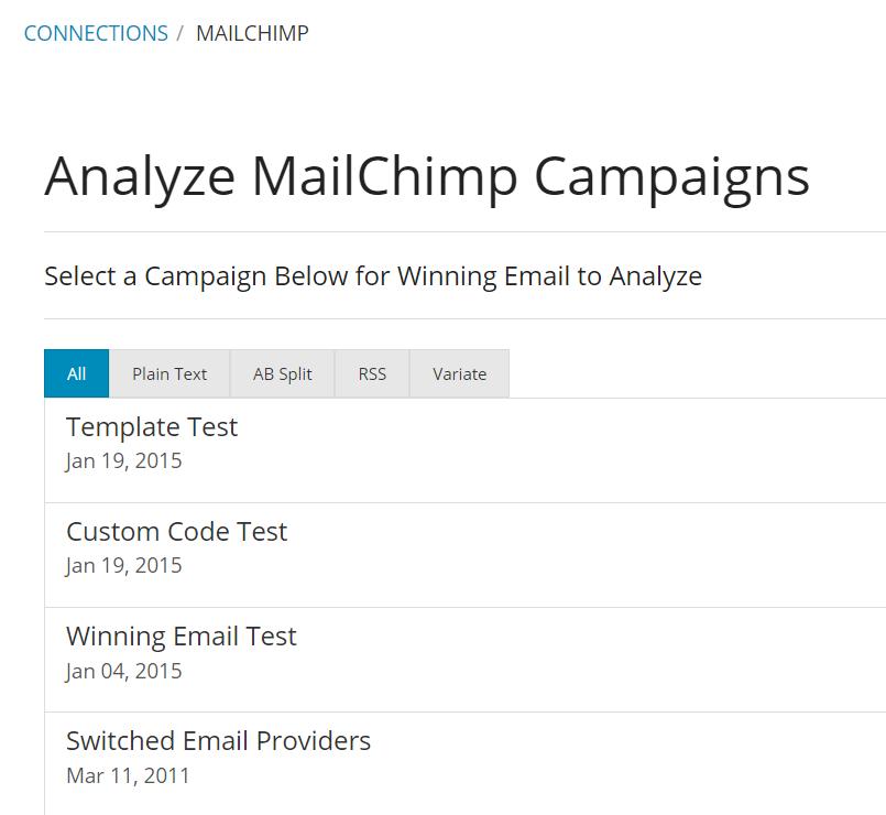 MailChimp analysis