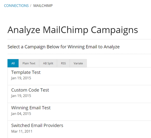MailChimp analysis