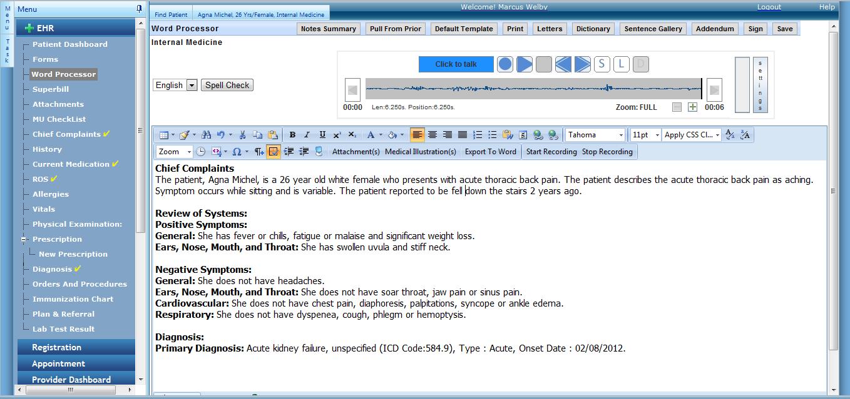 EnableDoc EHR - Word processor
