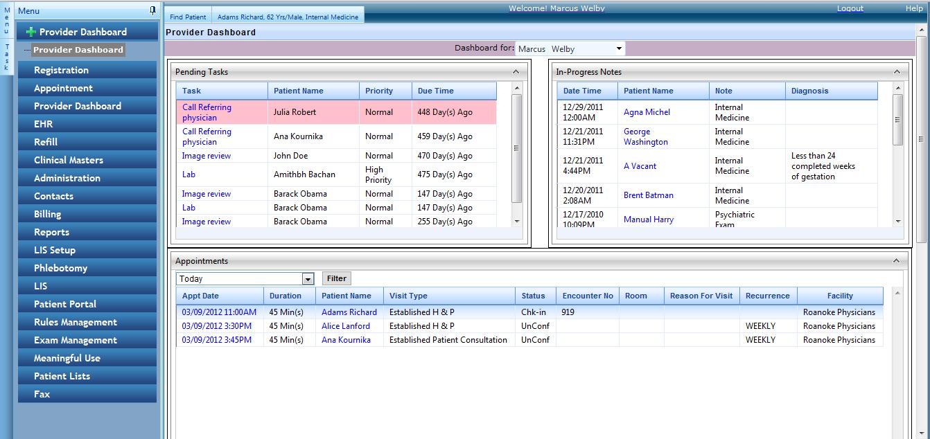 EnableDoc EHR - Provider dashboard
