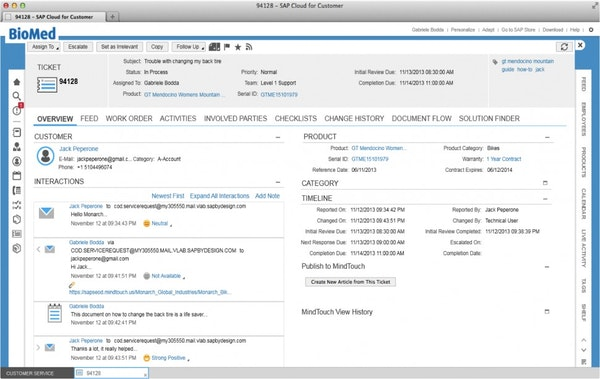 SAP Cloud for Service - Customer overview