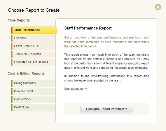 actiTIME new report creation screenshot.