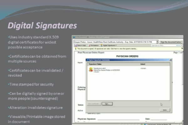 HealthWare digital signatures