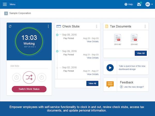 Paychex Flex - Home screen