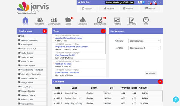 Jarvis Legal Software - 2019 Reviews, Pricing & Demo