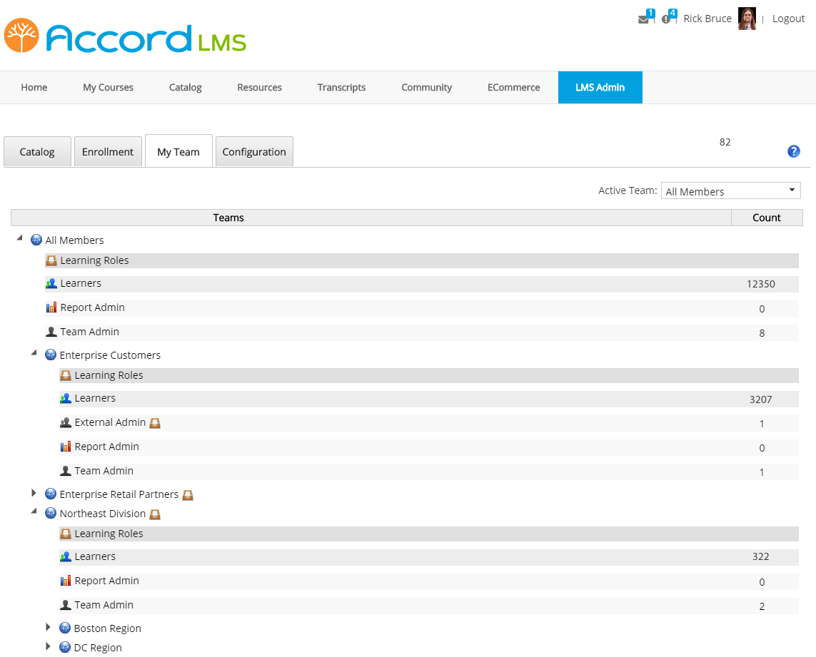 Accord LMS Admin - My Teams