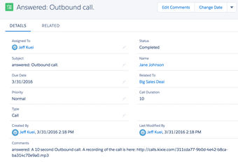 Outbound call