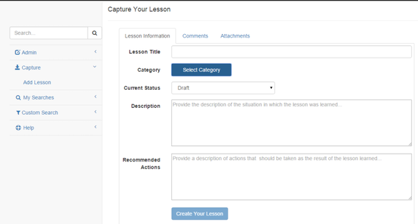 Lessons Learned Database - Capture lessons