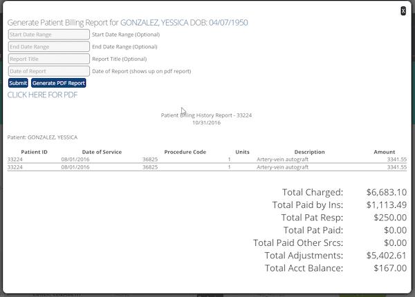 Generate patient billing report