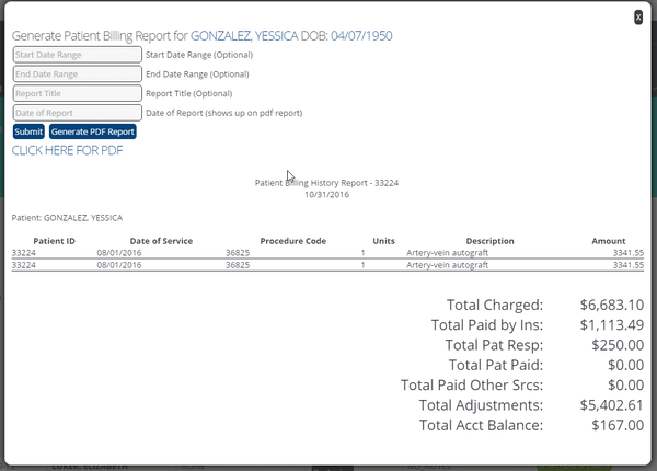 Generate patient billing report