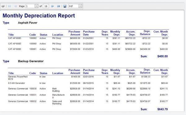 Depreciation report