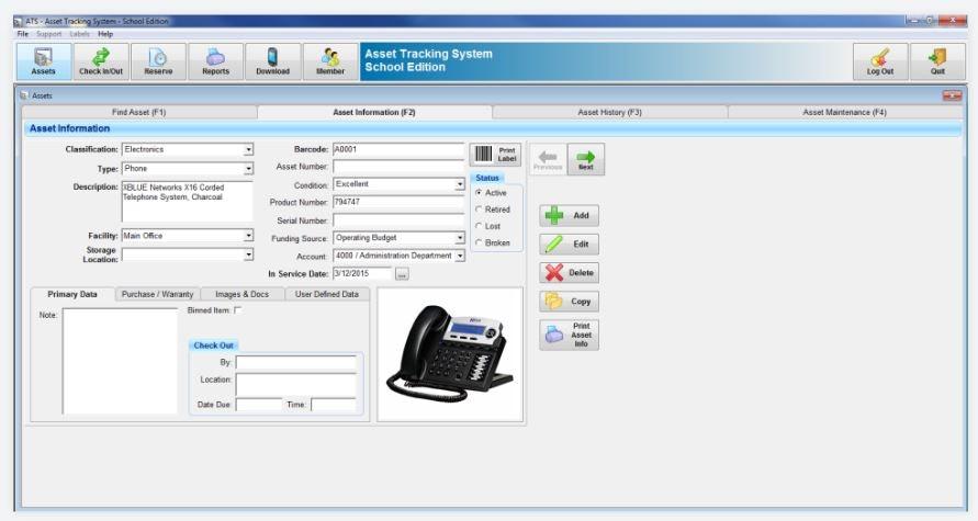 Asset information form