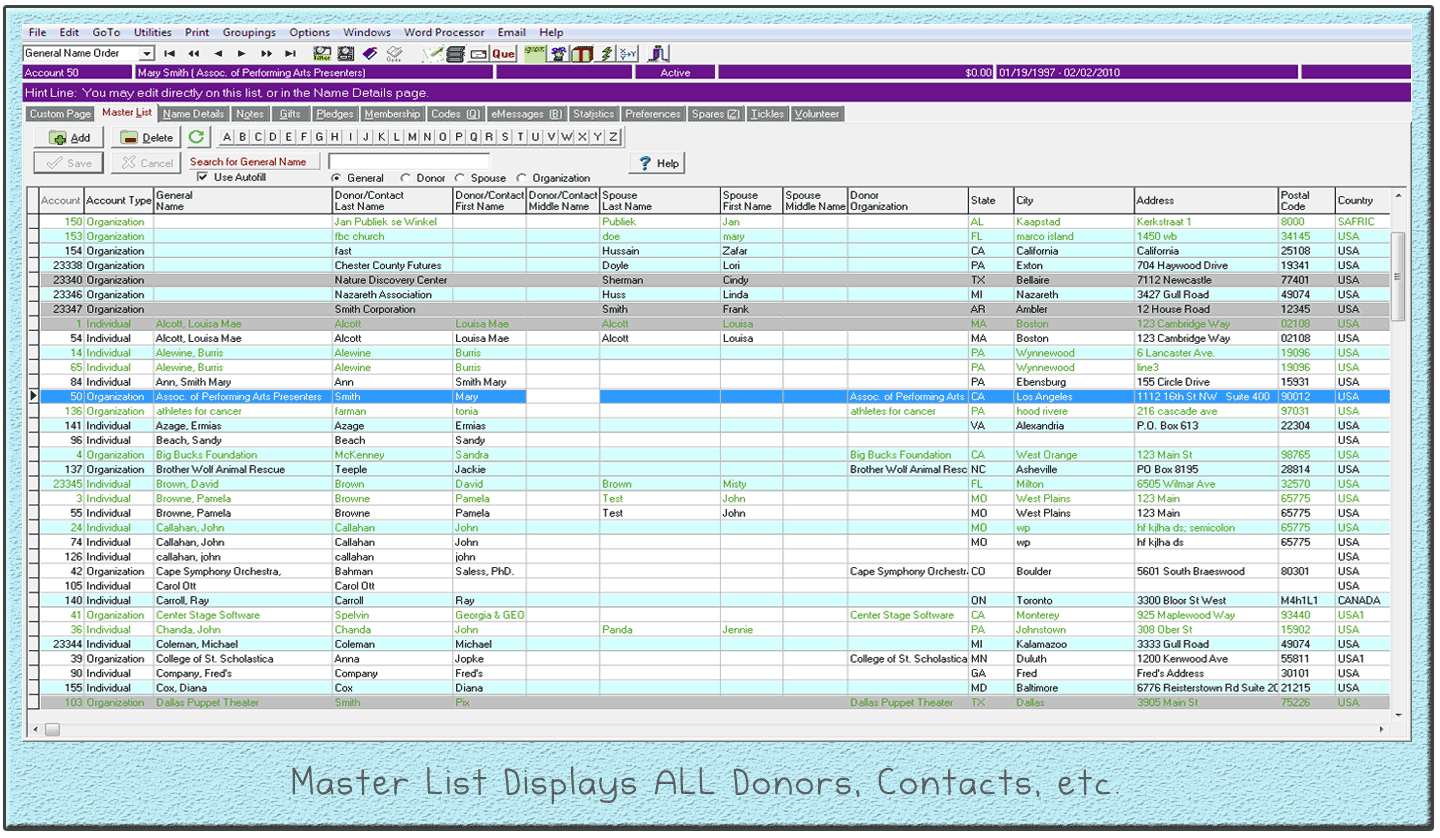 Master List Displays All Donors and Contacts