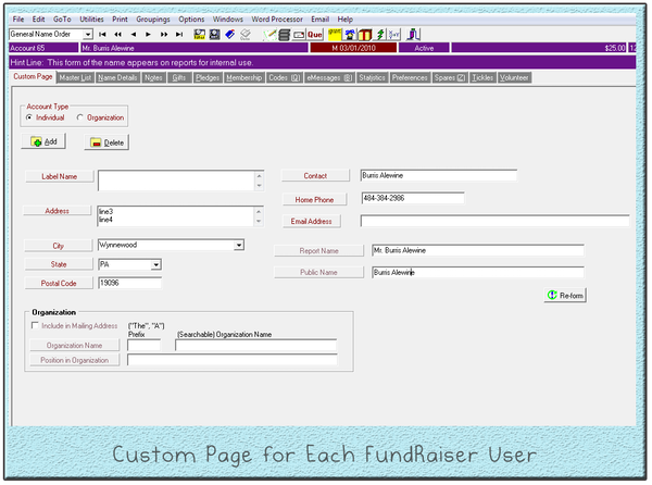 Custom Page for Each FundRaiser User
