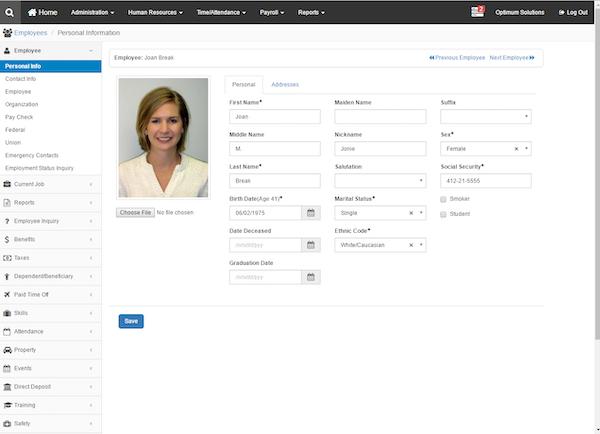Employee information screen