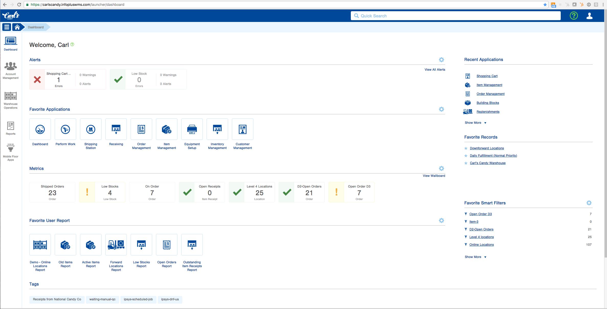 Infoplus - User dashboard