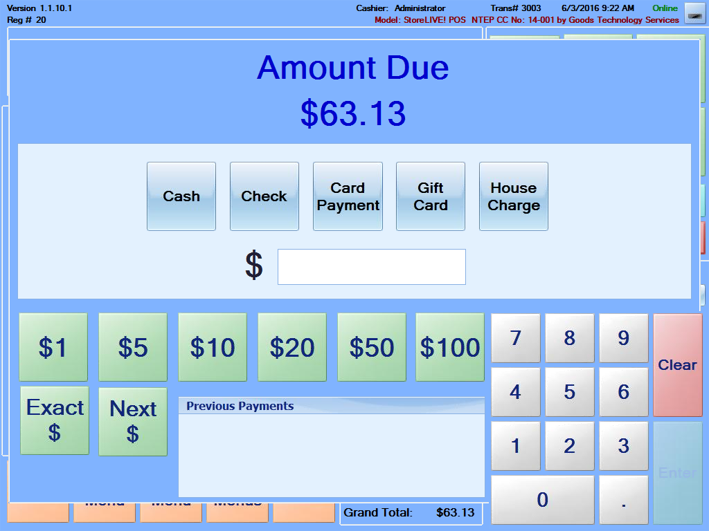 Pay screen