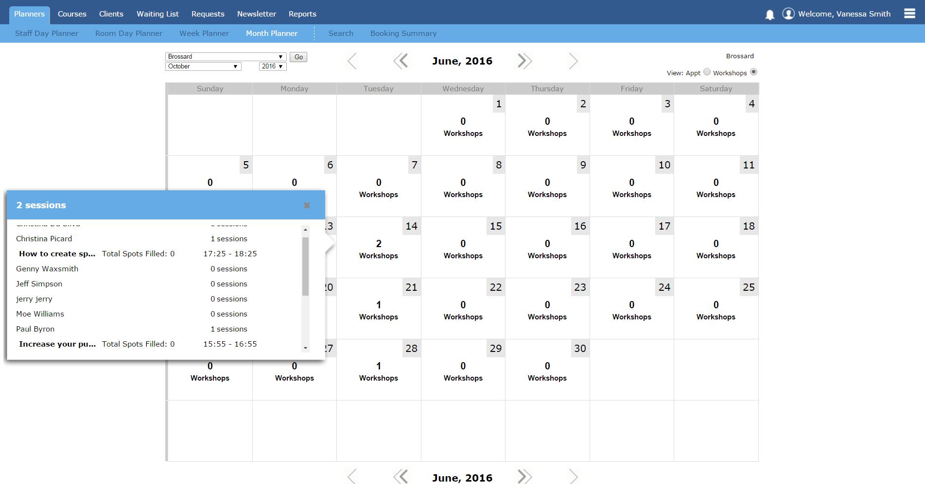 Month planner in workshops mode
