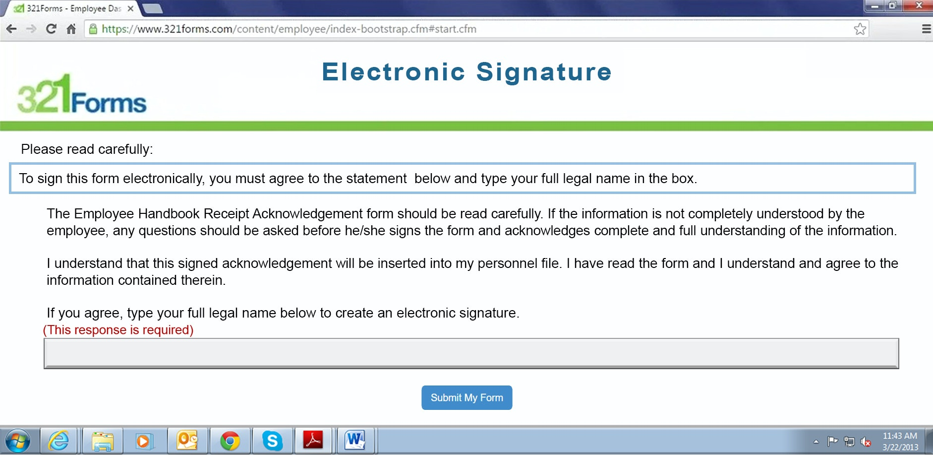 Employee signature page