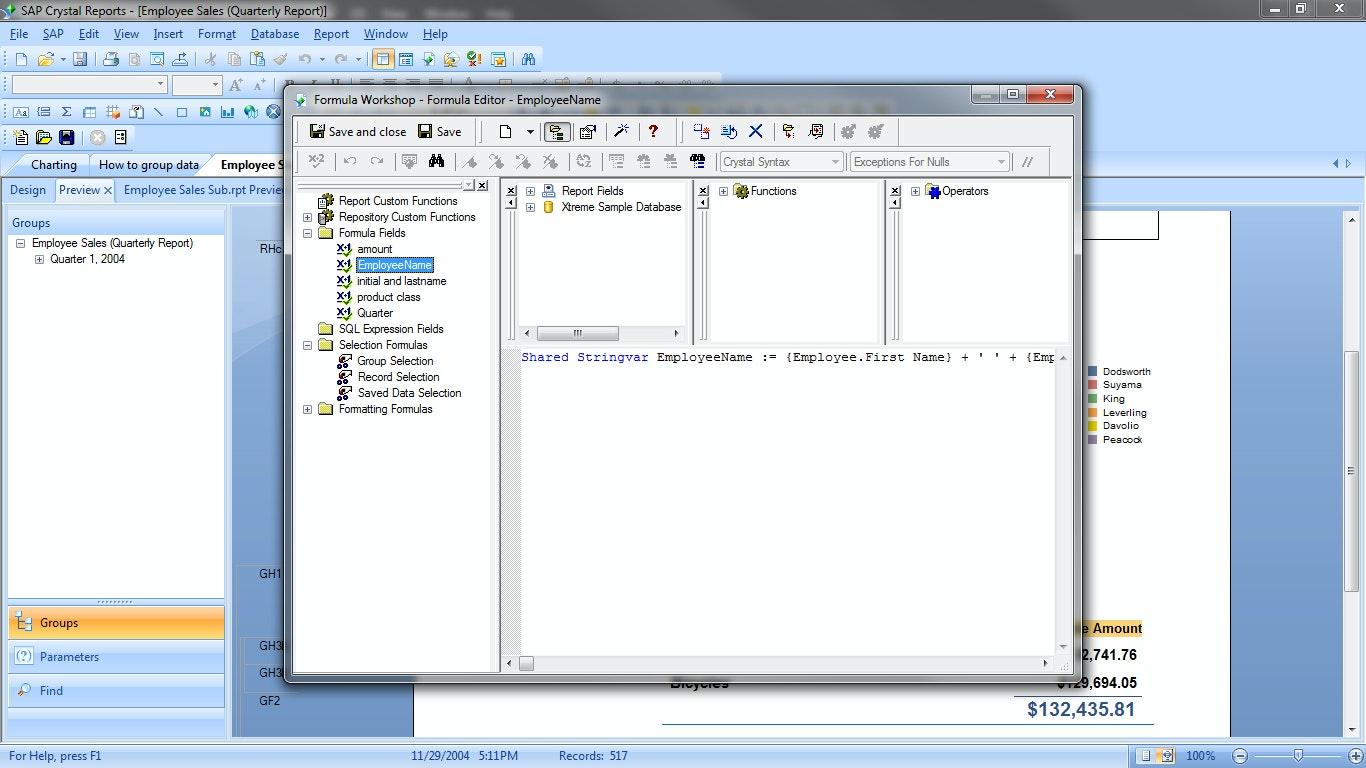 Custom formula editor