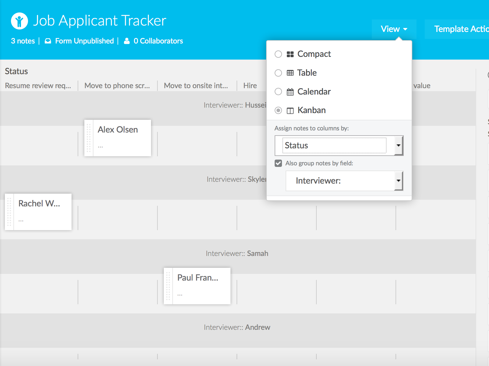 Job applicant tracker
