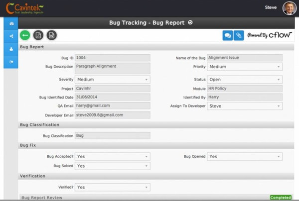 Bug tracking report