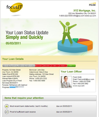 Send weekly status reports to borrowers and Realtors with ease
