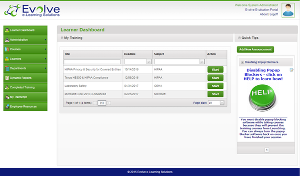 Learner dashboard