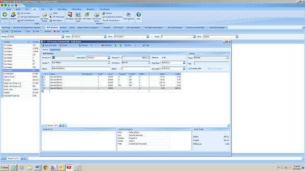 A/P invoice with direct allocation