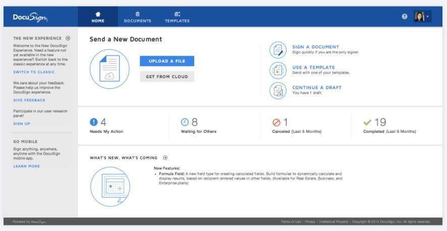 DocuSign - Dashboard