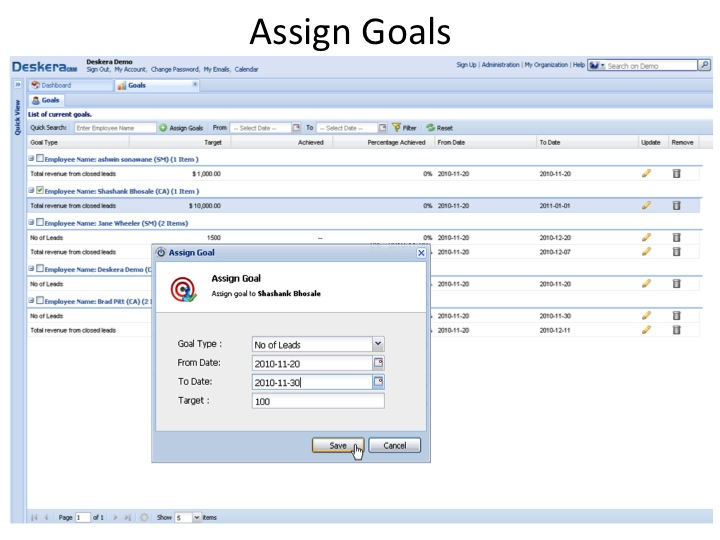 Easily set sales goals and track progress.