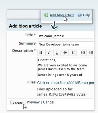 Add blog article