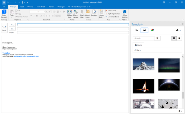 Outlook templates