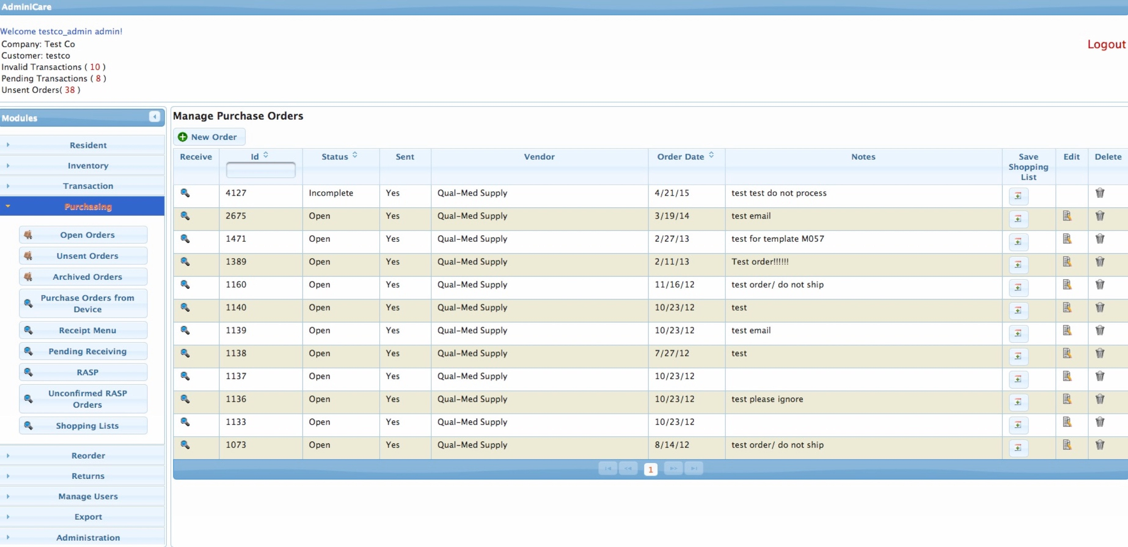 Manage purchase orders